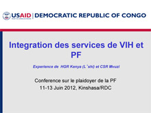 Family Planning Presentation in Kinshasa DRC - USAID.